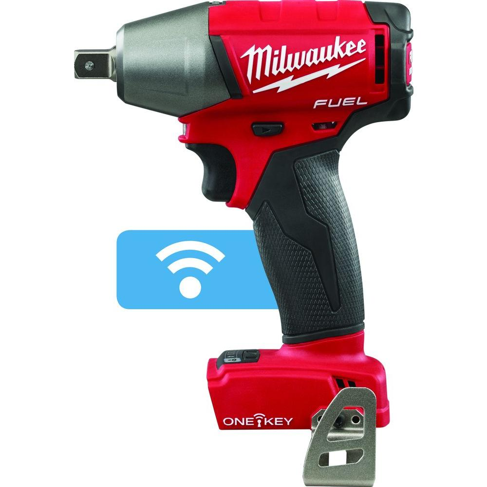 Milwaukee M18 FUEL with ONE-KEY 18-Volt Lithium-Ion Brushless 1/2 in. Cordless Impact Wrench Pin Detent  (Tool-Only)
