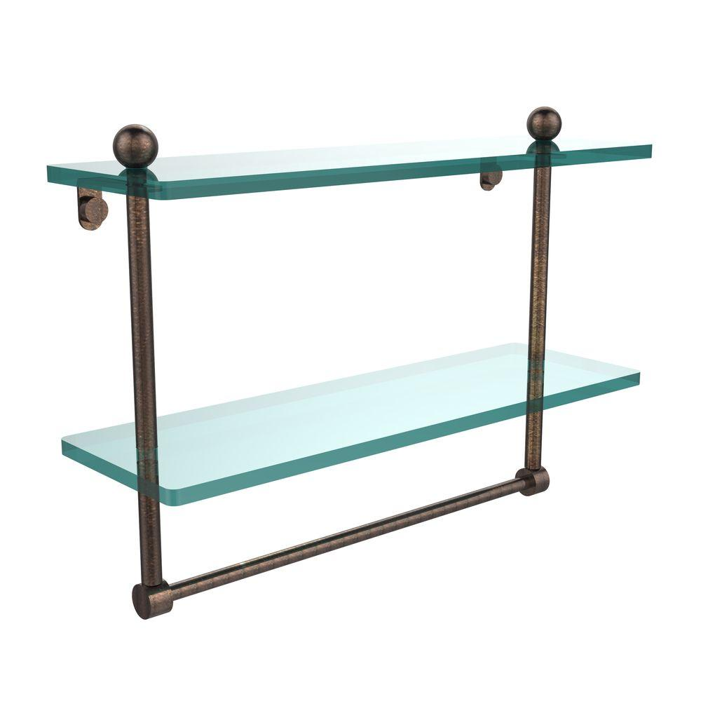 Allied Brass 16 in. L  x 12 in. H  x 5 in. W 2-Tier Clear Glass Bathroom Shelf with Towel Bar in Venetian Bronze
