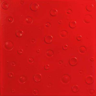 Bubbles 1.6 ft. x 1.6 ft. Foam Glue-up Ceiling Tile in Red