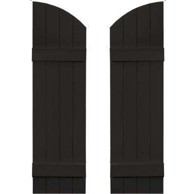14 in. x 45 in. Board-N-Batten Shutters Pair, 4 Boards Joined with Arch Top #002 Black