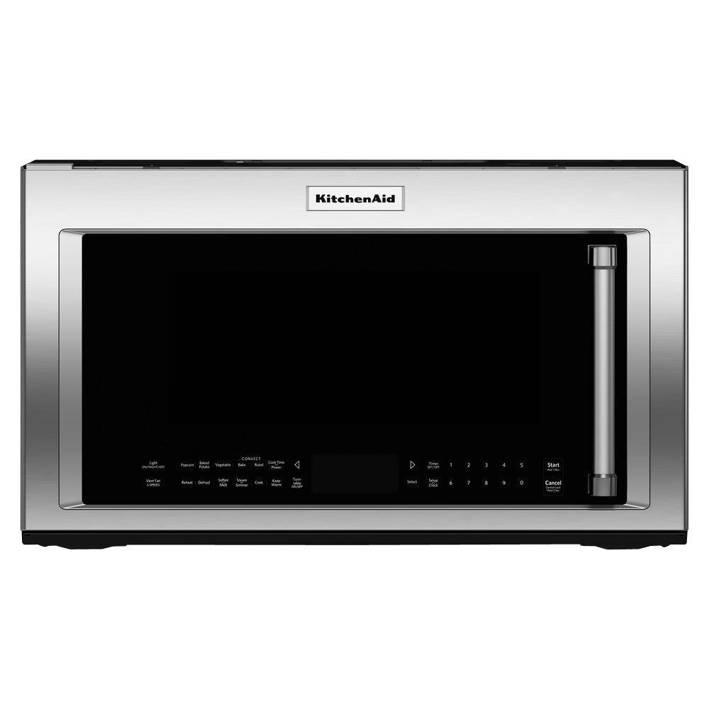 Kitchenaid 30 In W 1 9 Cu Ft Over The Range Convection Microwave Stainless Steel With Sensor Cooking Technology Kmhc319ess Home Depot