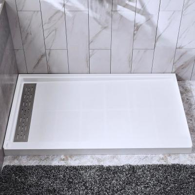 Rothbury 48 in. x 32 in. Solid Surface Single Threshold Left Drain Shower Pan with Stainless Steel Linear Cover in White