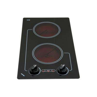 Caribbean Series 12 in. Radiant Electric Cooktop in Black with 2 Elements 120-Volt