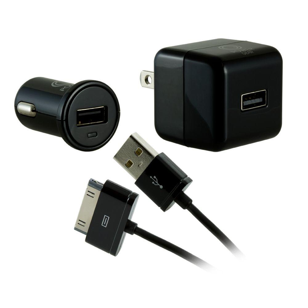 USB Charging Kit with Charge/Sync Cable,  Black