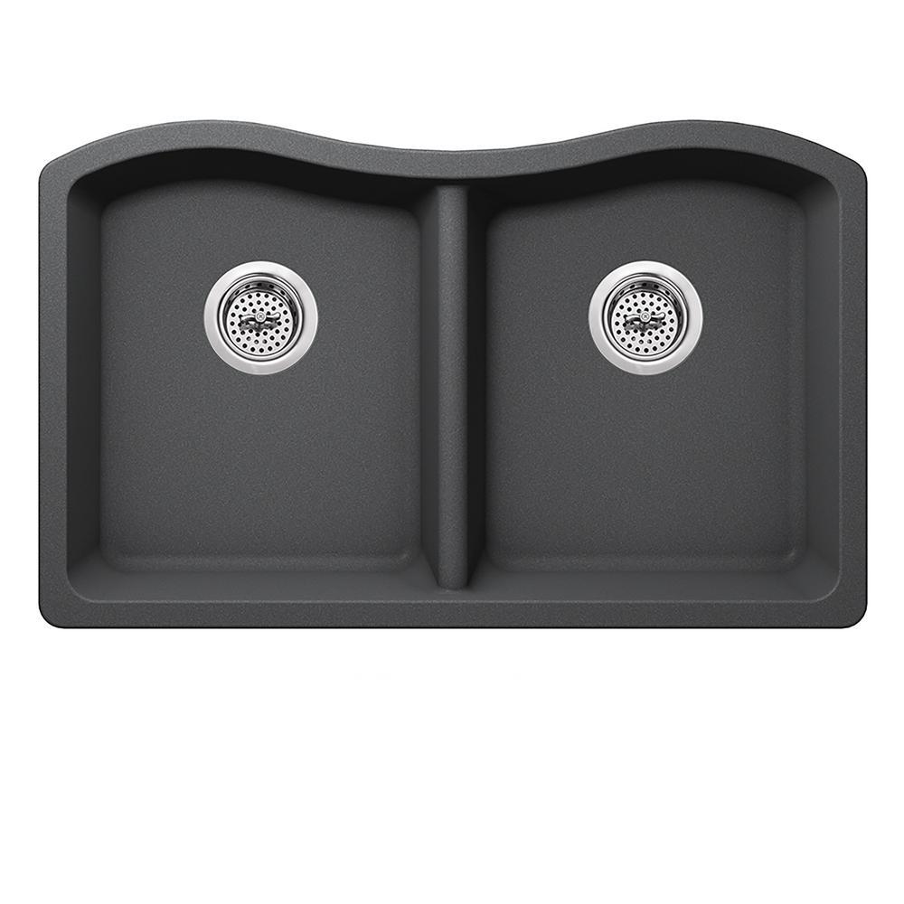 Undermount Quartz 32-1/2 in. 50/50 Double Bowl Kitchen Sink in Gray