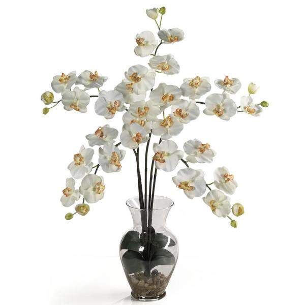 Nearly Natural 31 in. Phalaenopsis Liquid Illusion Silk Flower Arrangement in