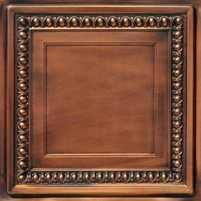 Cambridge 2 ft. x 2 ft. PVC Glue-up or Lay-in Ceiling Tile in Aged Copper