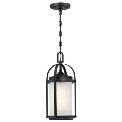 Grandview 1-Light Matte Black Outdoor Pendant Light with Frosted Glass