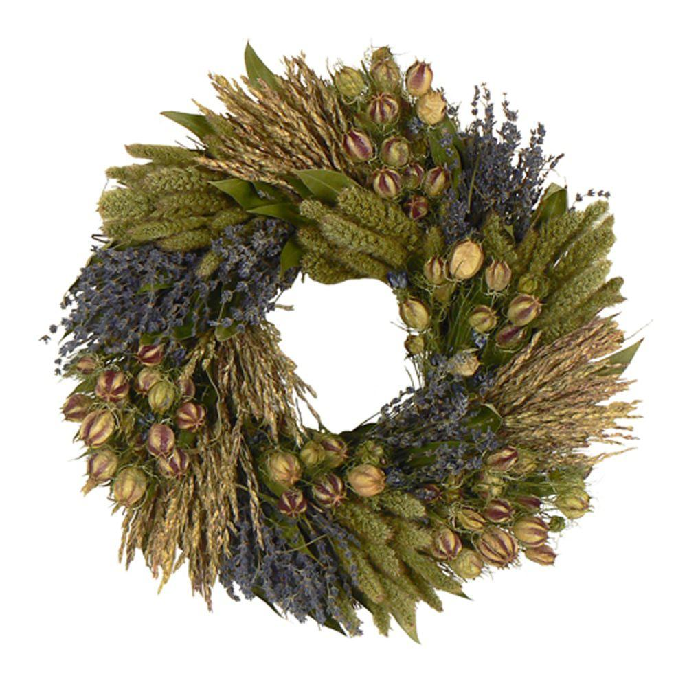 The Christmas Tree Company Lavender Grassland 16 in. Dried Floral Wreath