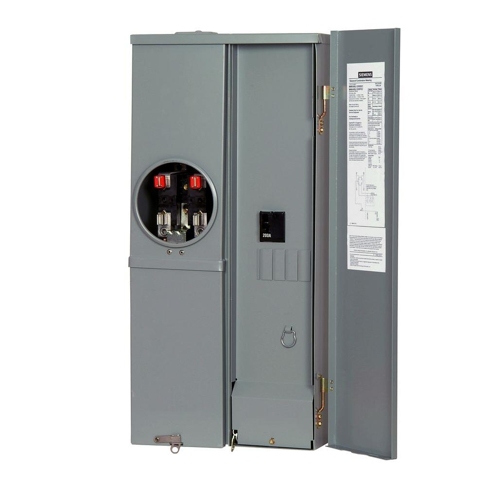 Siemens EUSERC Compliant Single Phase 200 Amp 4-Space 6-Circuit Meter Combination Load Center