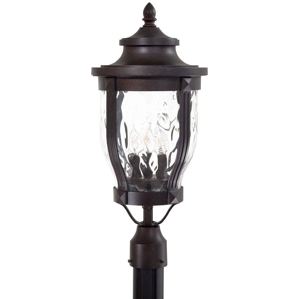Merrimack 3-Light Corona Bronze Outdoor Post Lantern