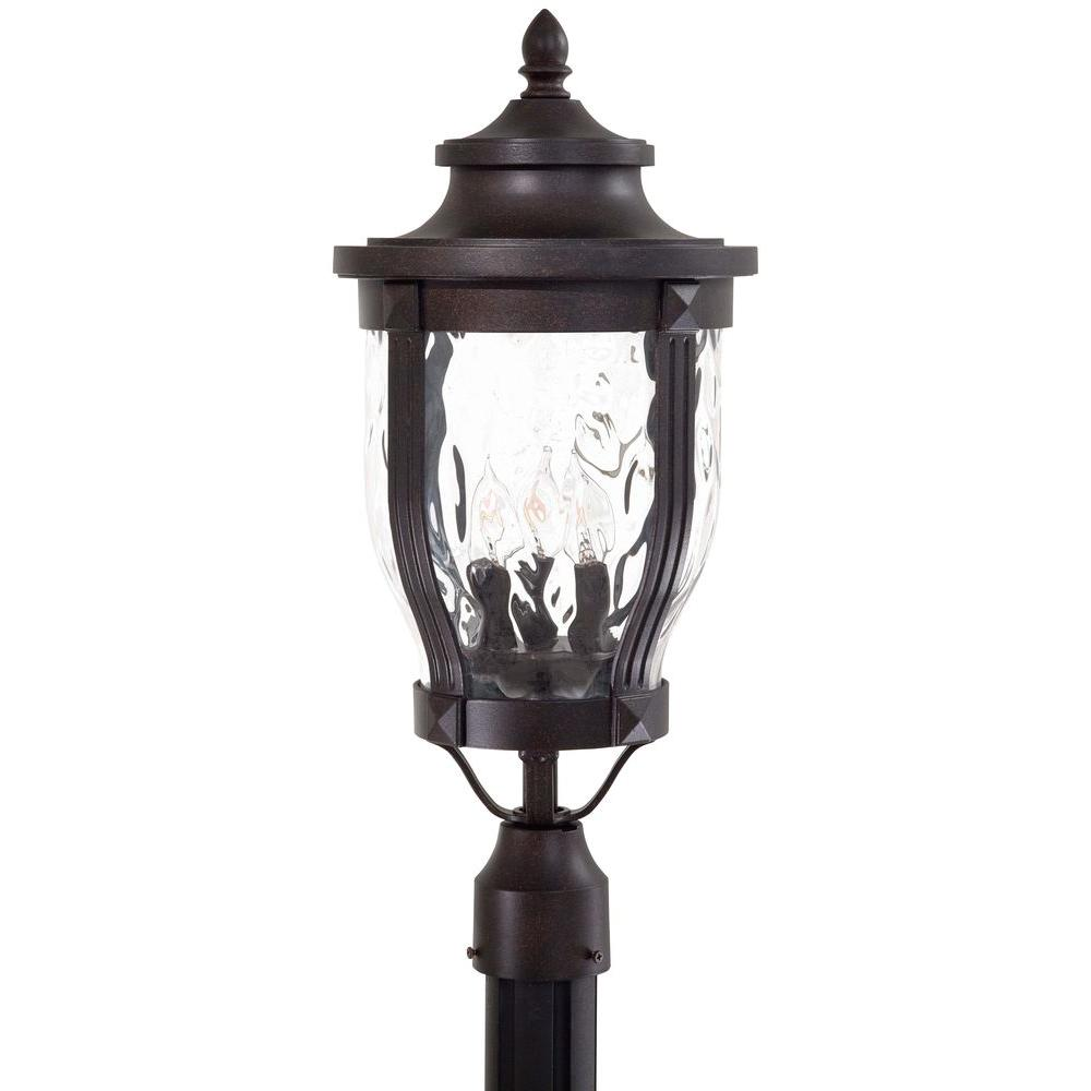 the great outdoors by Minka Lavery Merrimack 3-Light Corona Bronze Outdoor Post Lantern