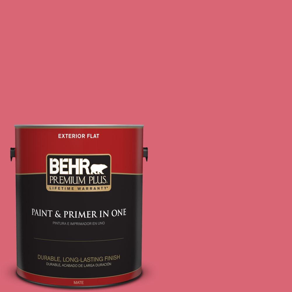 BEHR Premium Plus 1 gal. #P150-5 Kiss and Tell Flat Exterior Paint ...