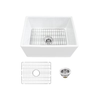 Farmhouse Apron Front Fireclay 24 in. Single Bowl Kitchen Sink in White with Grid and Strainer