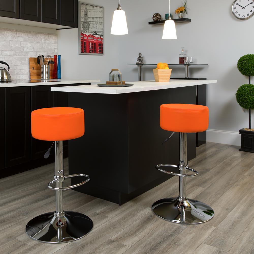 Flash Furniture 33.50 in. Adjustable Height Orange Cushioned Bar Stool