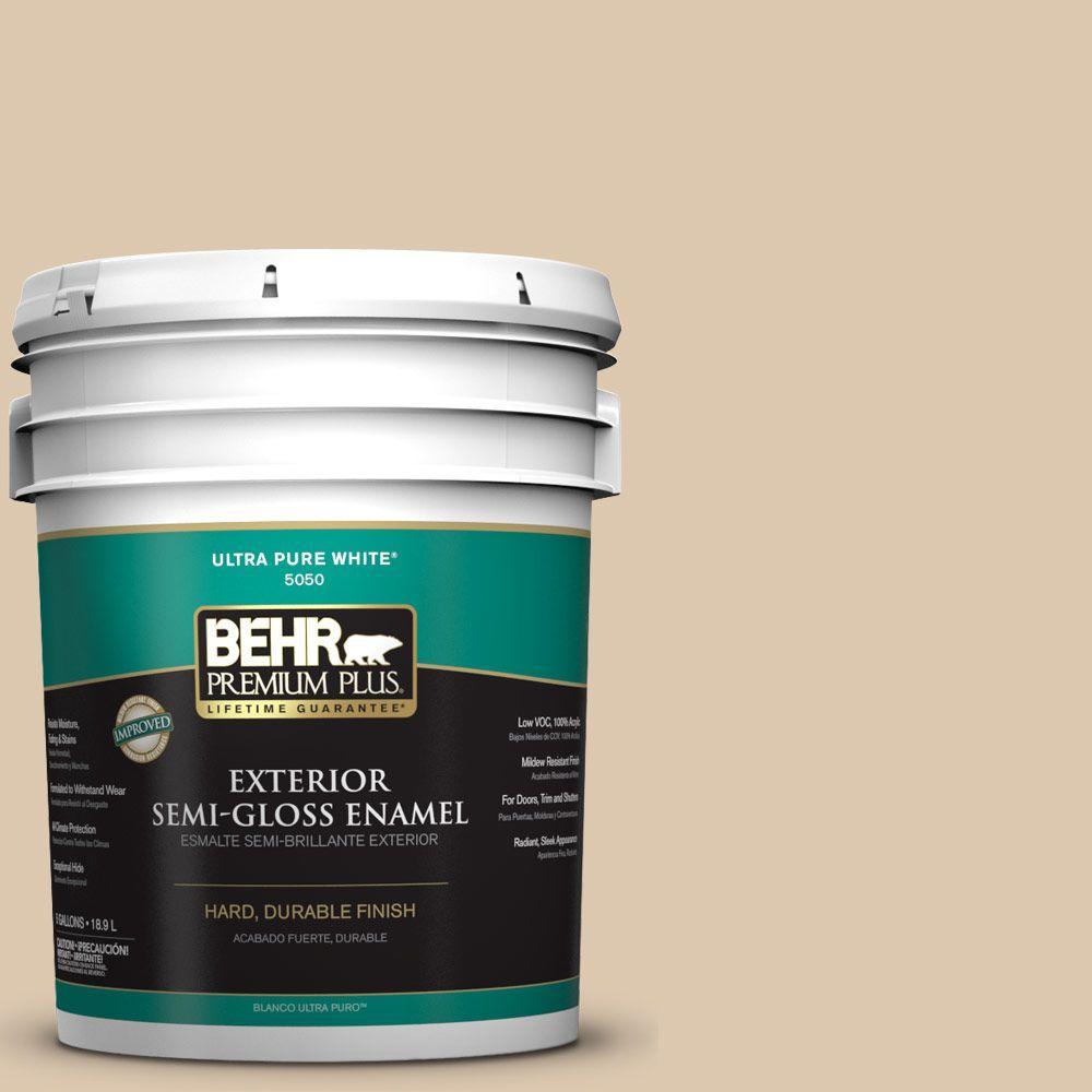 BEHR Premium Plus 5-gal. #N270-2 Lentil Semi-Gloss Enamel Exterior Paint