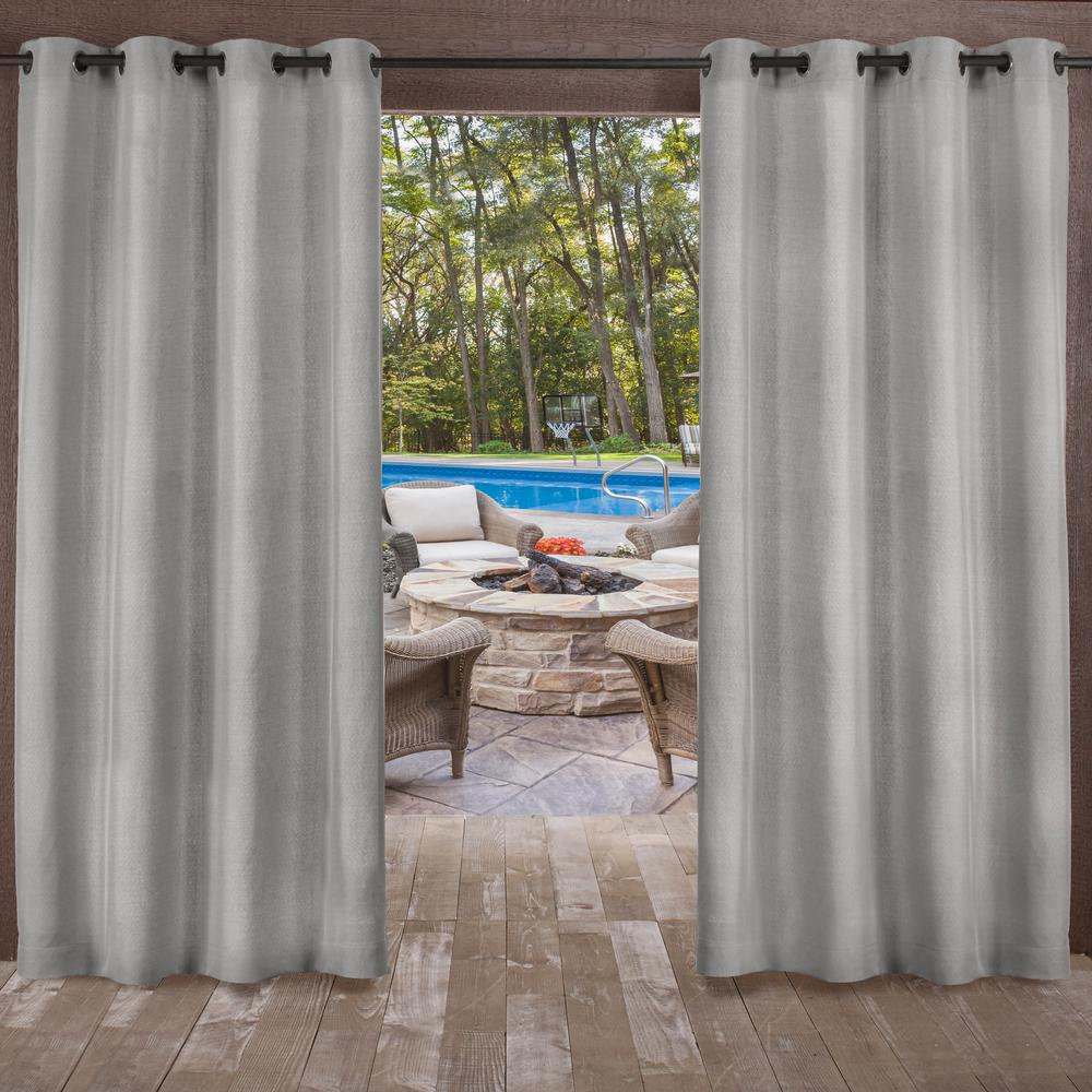 Biscayne 54 in. W x 96 in. L Indoor Outdoor Grommet Top Curtain Panel in Silver (2 Panels)