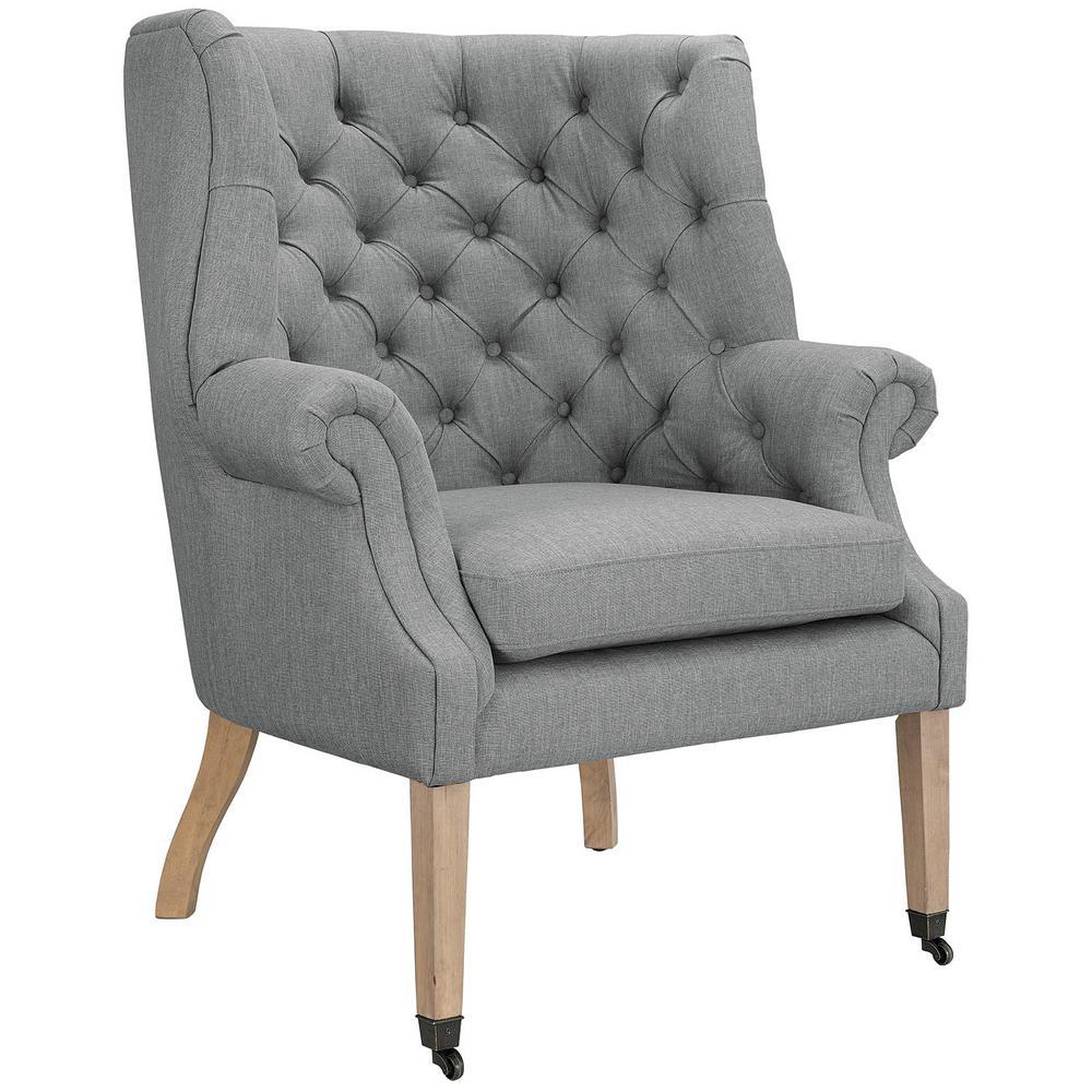MODWAY Chart Light Gray Upholstered Fabric Lounge Chair EEI-2146-LGR