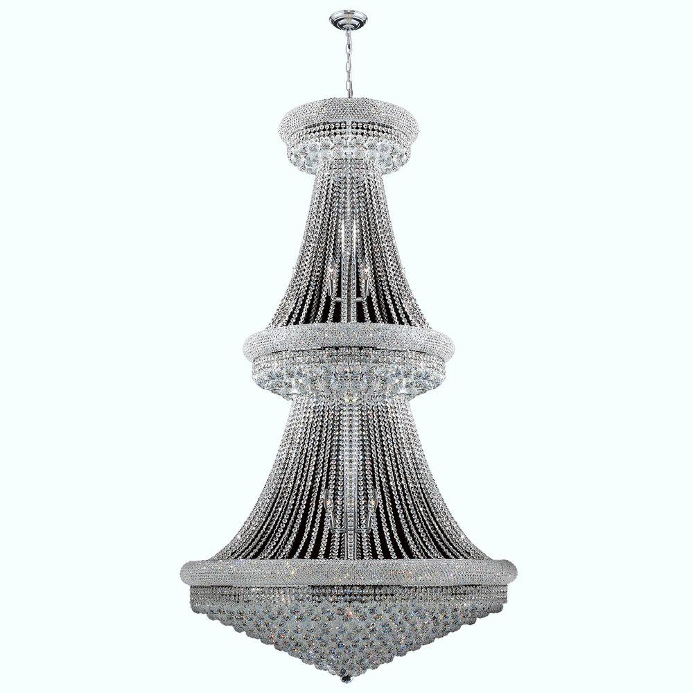 Worldwide Lighting Empire Collection 38-Light Polished Chrome and Crystal Chandelier