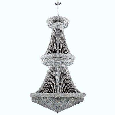 Empire Collection 38-Light Polished Chrome and Crystal Chandelier