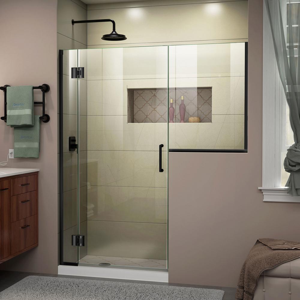 Dreamline Unidoor X 66 To 66 5 In X 72 In Frameless Hinged Shower Door In Satin Black D1243636 09 The Home Depot