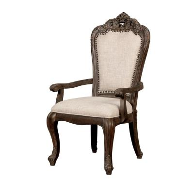 Elizabeth Antique Brushed Gray Fabric Carved Arm Chair (Set of 2)