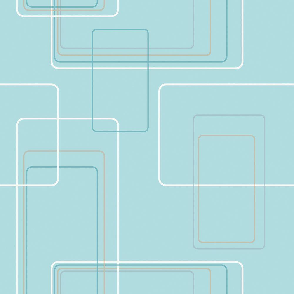 The Wallpaper Company 56 sq. ft. Aqua Modern Retro Graphic Rectangle Print Wallpaper
