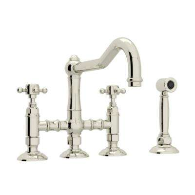 Country Kitchen 2-Handle Bridge Kitchen Faucet with Cross Handles in Polished Nickel