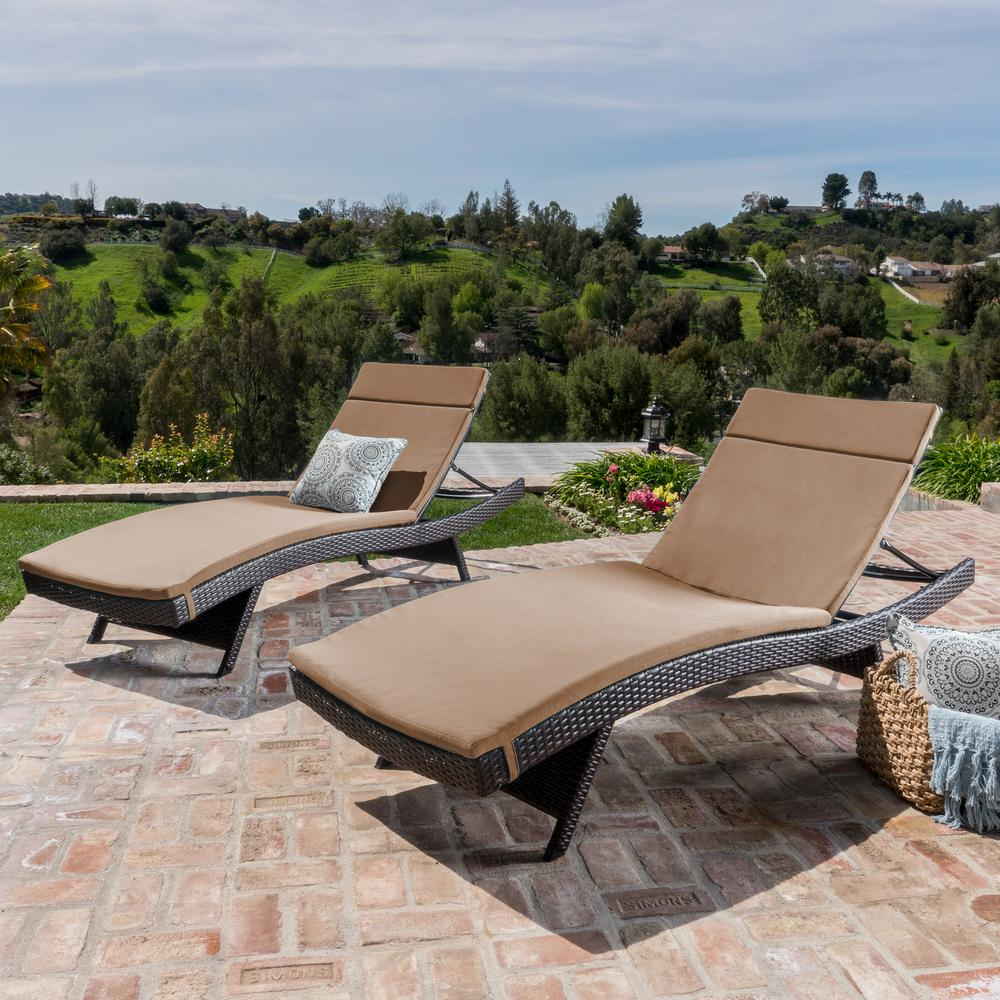 NobleHouse Noble House Salem Multi-Brown 4-Piece Wicker Outdoor Chaise Lounge with Caramel Cushions