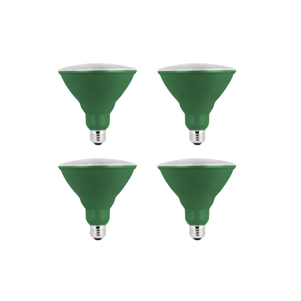 Home Depot Colored Light Bulbs: Feit Electric 90W Equivalent Green-Colored PAR38 LED