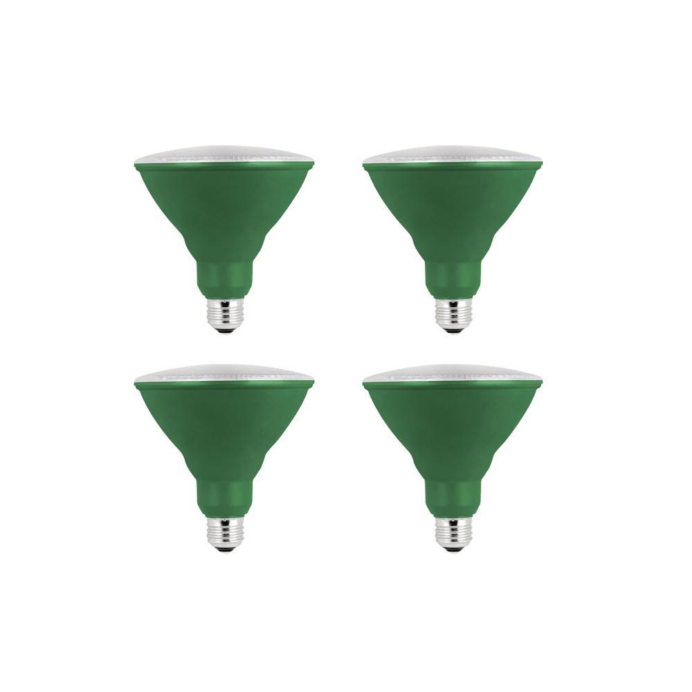 Feit Electric 90W Equivalent Green-Colored PAR38 LED Weatherproof Light Bulb (4-Pack)