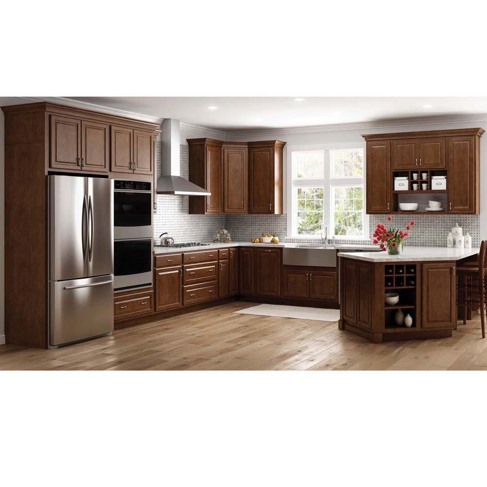 Hampton Bay Hampton Assembled 36x34 5x24 In Pots And Pans Drawer Base Kitchen Cabinet In Cognac Kdb36 Cog The Home Depot