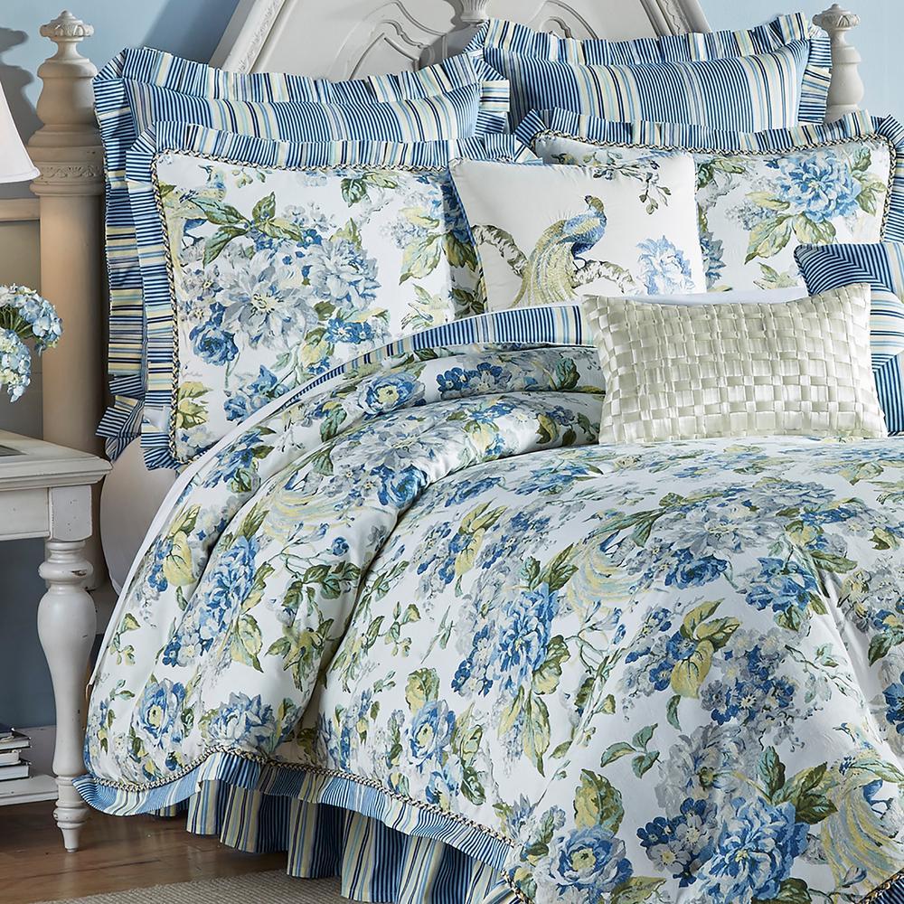 Floral 4-Piece Porcelain Queen Comforter Set
