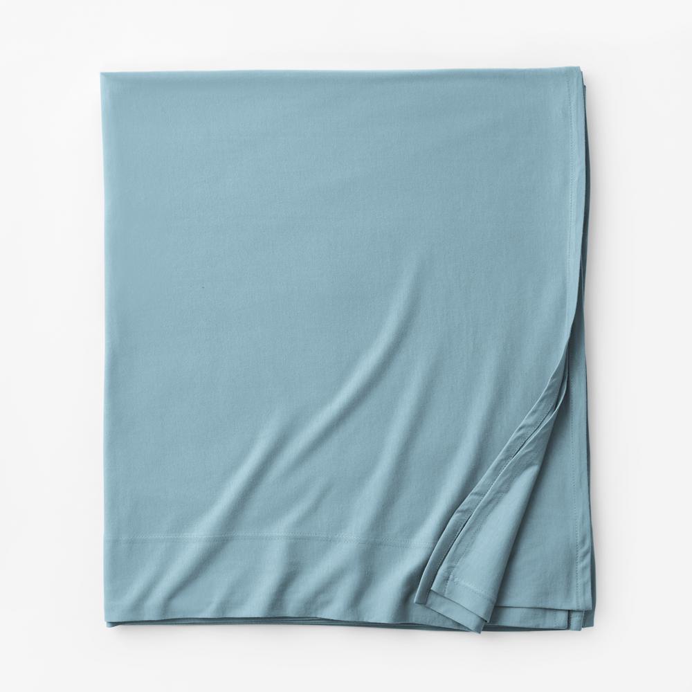 Organic Cotton Jersey Knit Blue Water Solid Full Flat Sheet