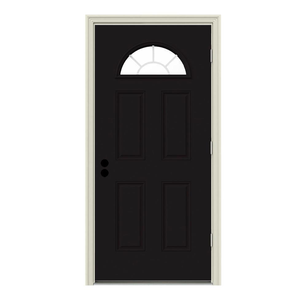 JELD-WEN 34 in. x 80 in. Fan Lite Black w/ White Interior Steel Prehung Left-Hand Outswing Front Door w/Brickmould