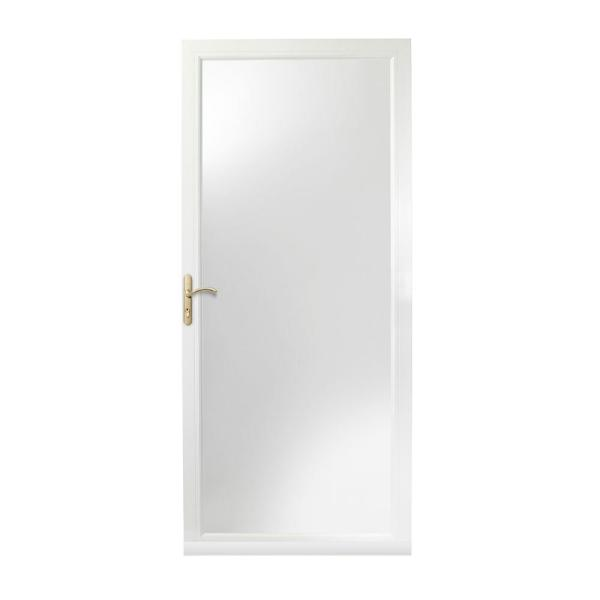 36 in. x 84 in. 3000 Series White Left-Hand Fullview Easy Install Aluminum Storm Door with Brass Hardware