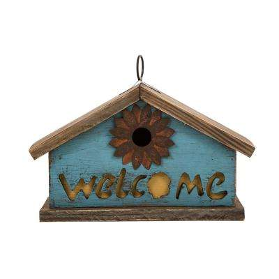 11.02 in. L Distressed Solid Wood Birdhouse