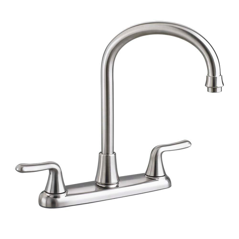 American Standard Colony Soft 2 Handle Standard Kitchen Faucet With  Gooseneck Spout In Stainless Steel