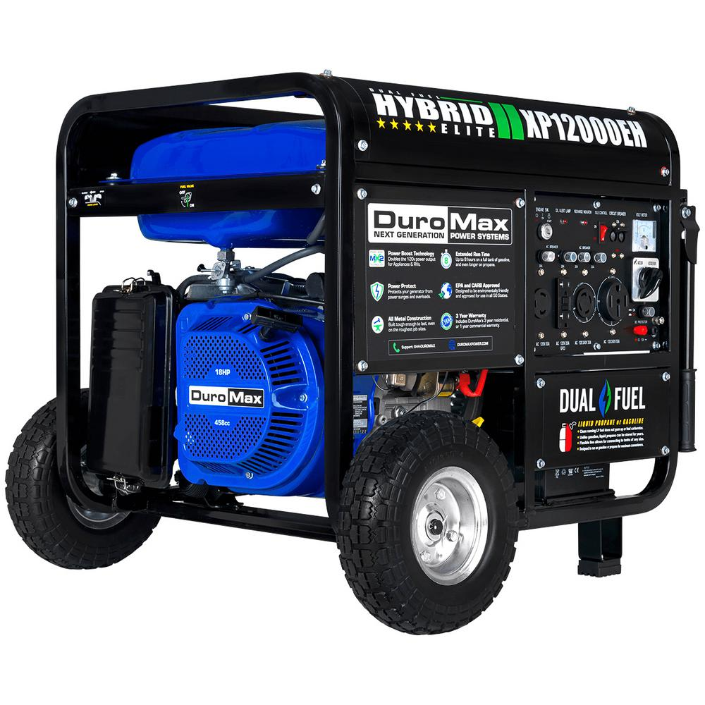 Duromax 12000/9500-Watt 18 HP Dual Fuel Powered Portable Hybrid Electric  Start Gasoline / Propane Generator