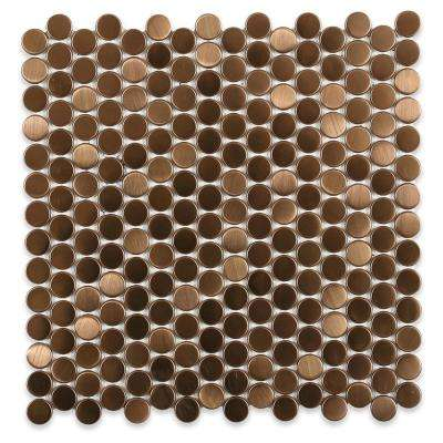 Copper Stainless Steel Penny Round Metal Mosaic Wall Tile - 3 in. x 6 in. x 8 mm Tile Sample