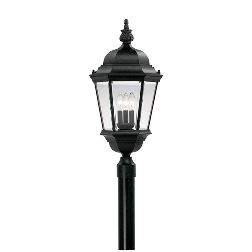 Farrell Collection 3-Light Outdoor Black Post Lantern