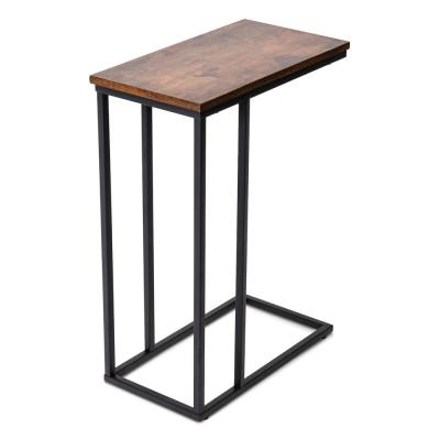 C Shaped Industrial Rustic Brown Side Table with Sturdy Metal Frame,Rustic Brown
