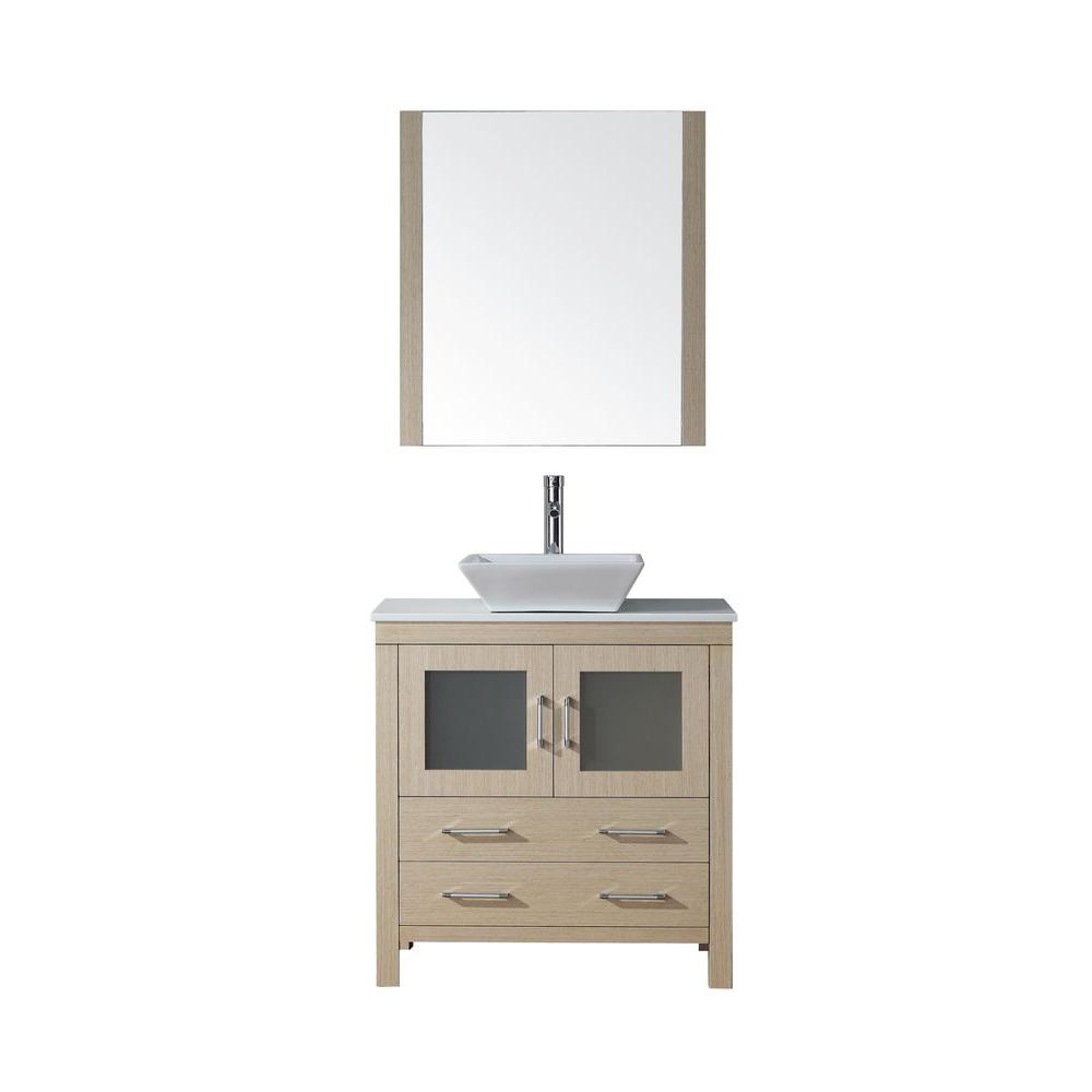 Virtu USA Dior 32 in. Vanity in Light Oak with Pure Marble Vanity Top in White and Mirror-DISCONTINUED