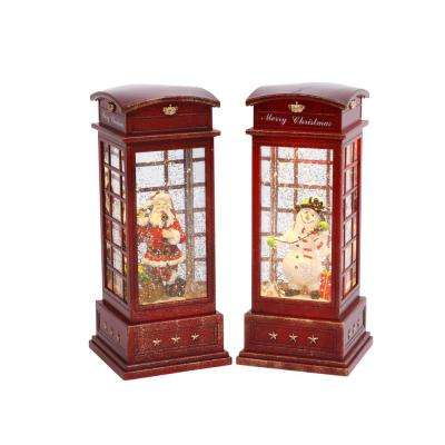10 in. H Lighted Telephone Booth Spinning Water Globes
