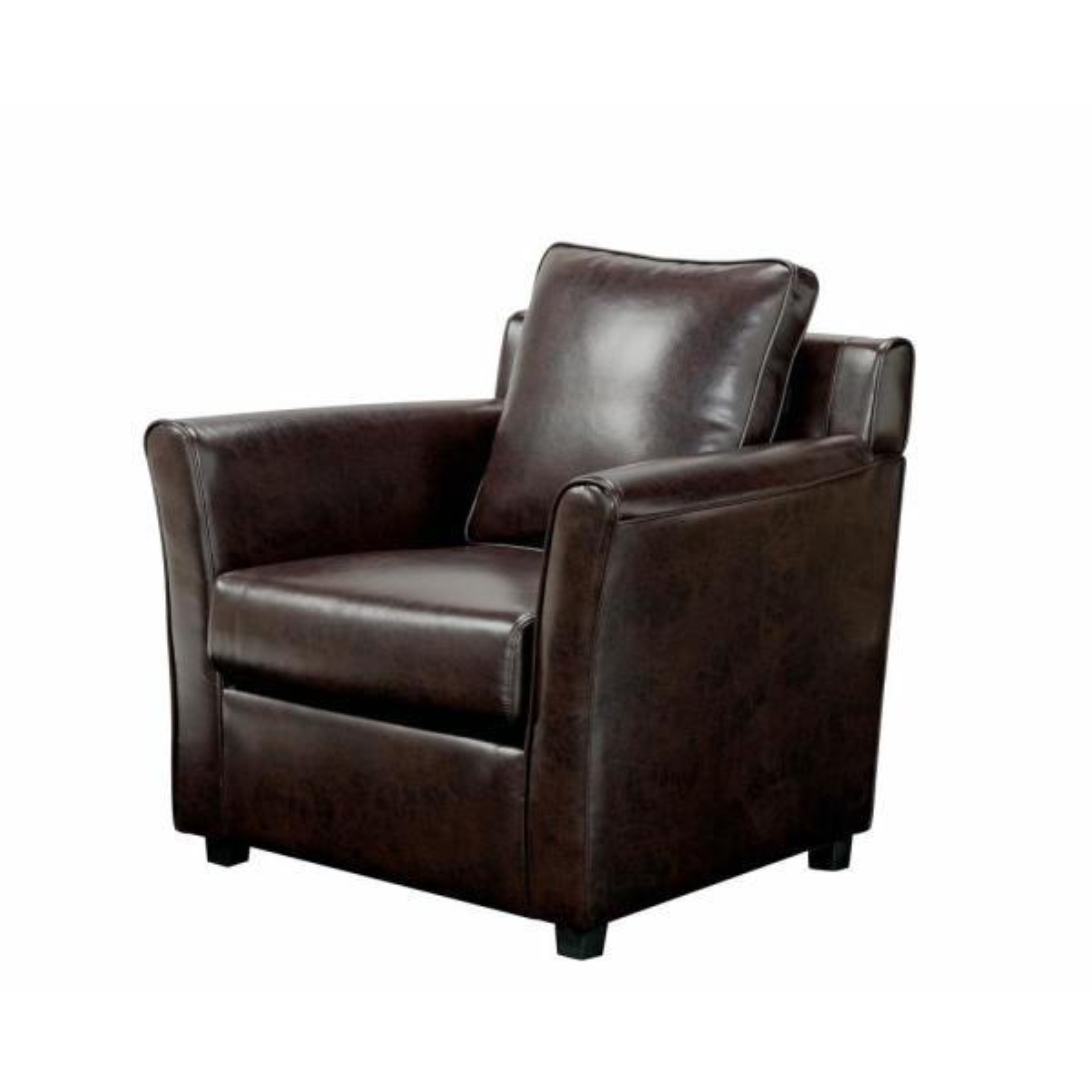 Furniture of America Beltram Brown Leather Accent Arm Chair IDI-8040