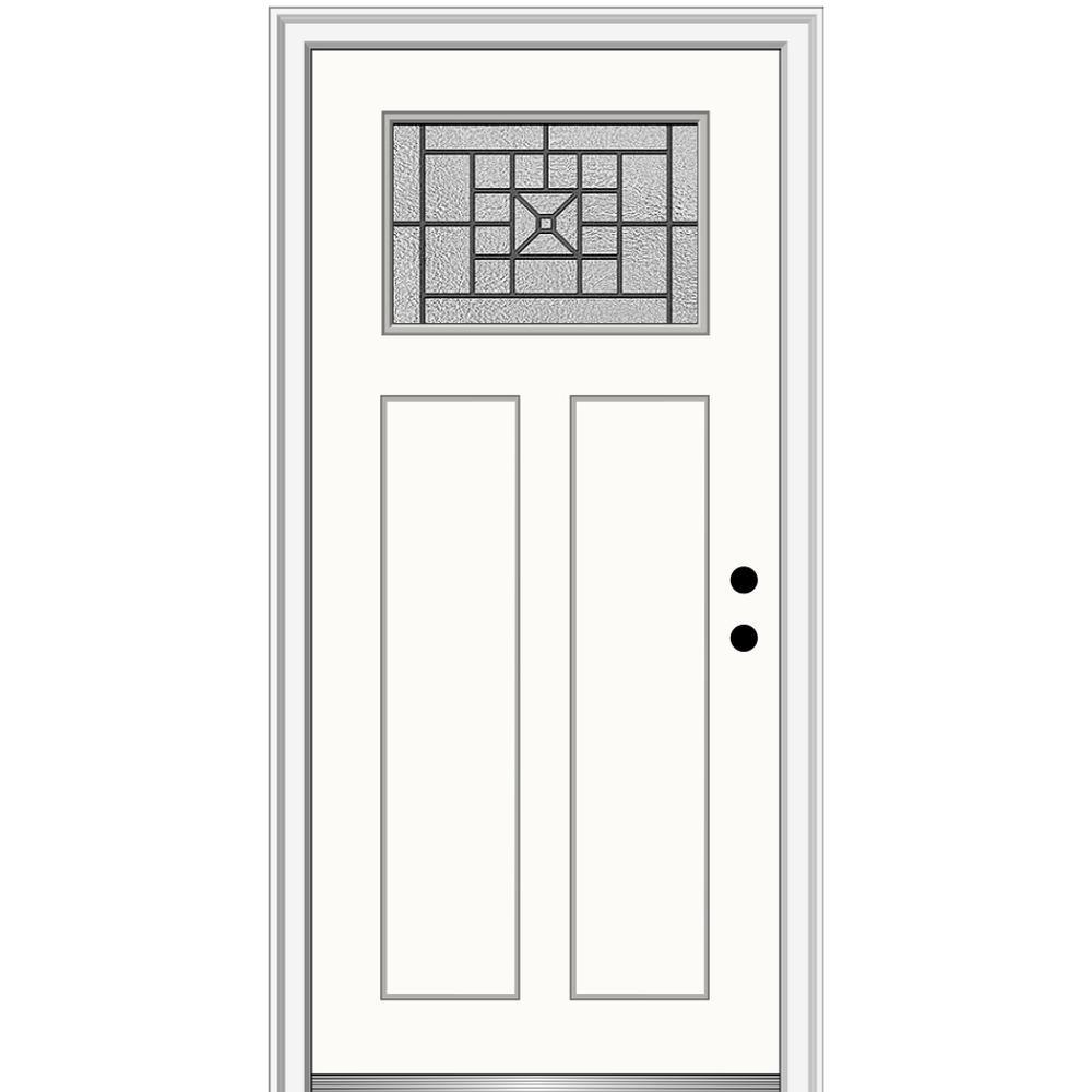 MMI Door 36 in. x 80 in. Courtyard Left-Hand 1-Lite Decorative Craftsman Painted Fiberglass Prehung Front Door, 4-9/16 in. Frame, Alabaster/Brilliant was $1444.56 now $939.0 (35.0% off)