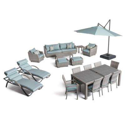 Cannes Estate Wicker 20-Piece Patio Conversation Set with Bliss Blue Cushions