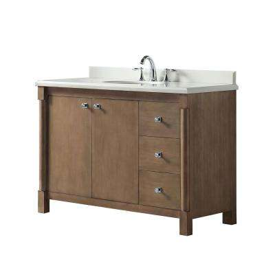 Breton 48 in. W x 22 in. D Vanity in Almond Toffee with Marble Vanity Top in White with White Basin