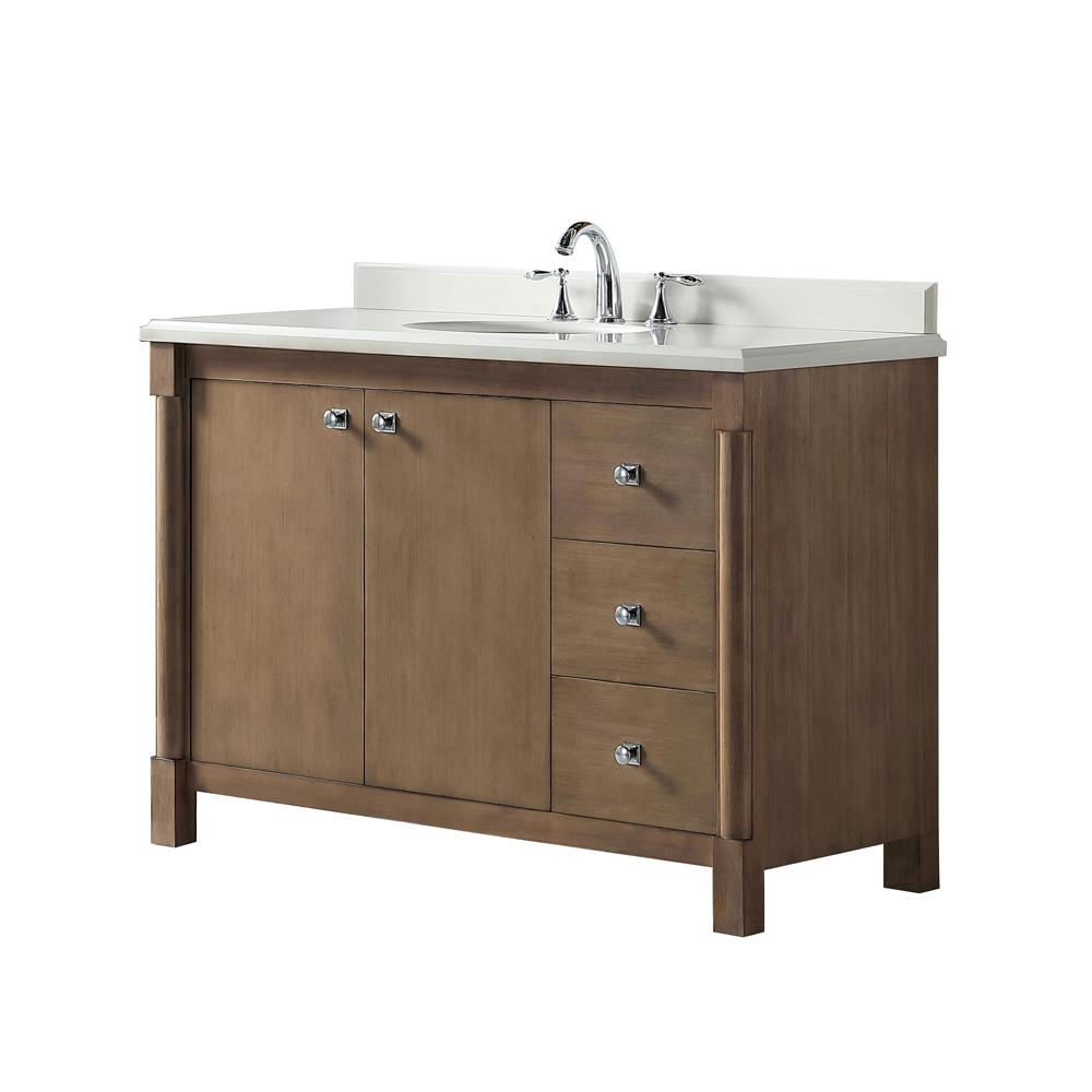 Martha Stewart Living Breton 48 In. W X 22 In. D Vanity In Almond Toffee  With Marble Vanity Top In White With White Basin-Breton 48AT - The Home  Depot
