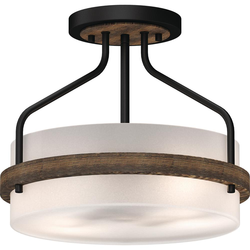 Volume Lighting Emery 2 Light Walnut And Black Indoor Semi Flush Mount Ceiling Fixture With Frosted Gl Drum